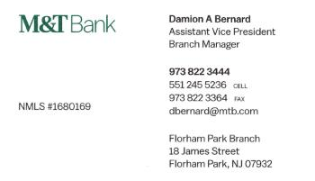 Damion&nbsp;Bernard - M&T Bank | COMMERCIAL BANK SERVICES<br>COMMERCIAL LOANS AND LINES Of CREDIT<br>TREASURY MANAGEMENT SERVICES